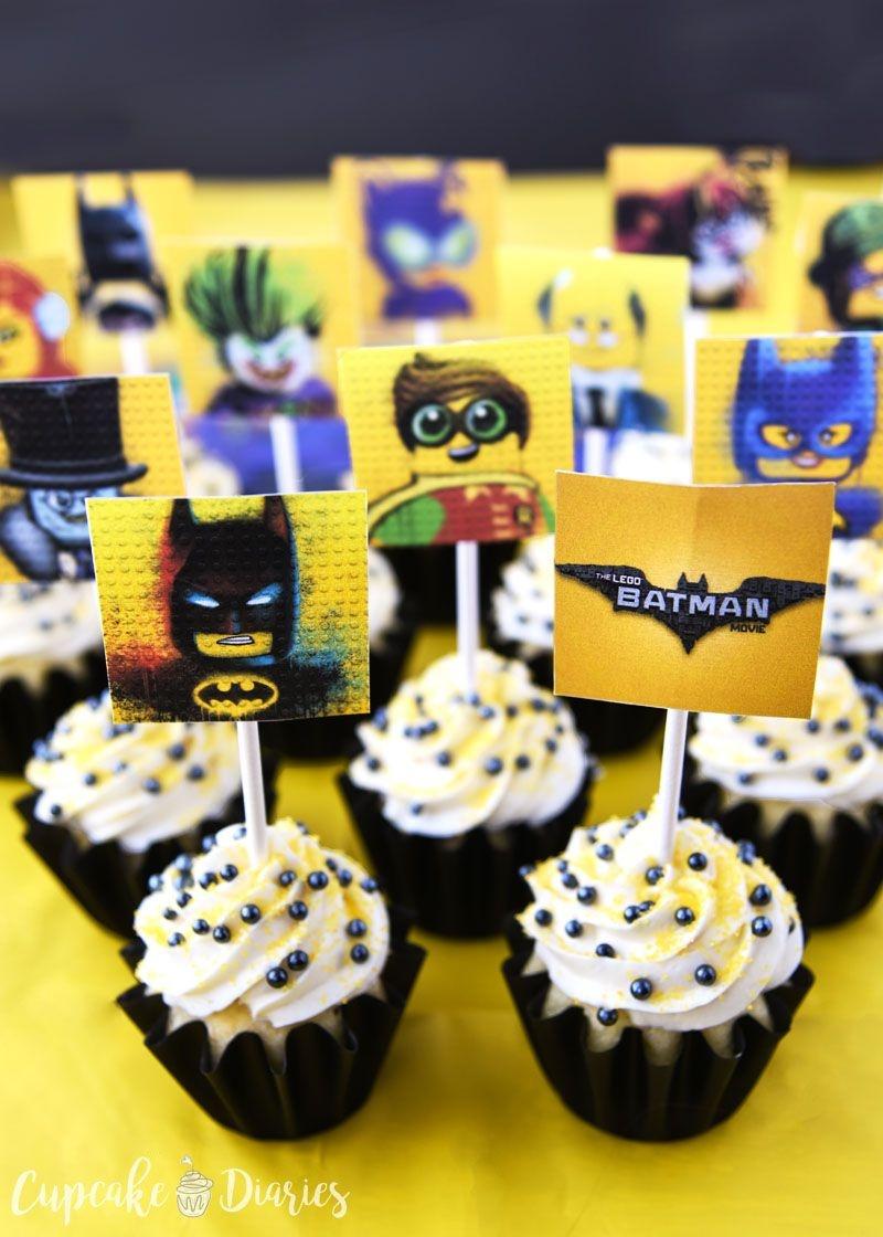 Lego Batman Cupcakes With Free Printable Toppers | Recipe | Bhg - Batman Cupcake Toppers Free Printable