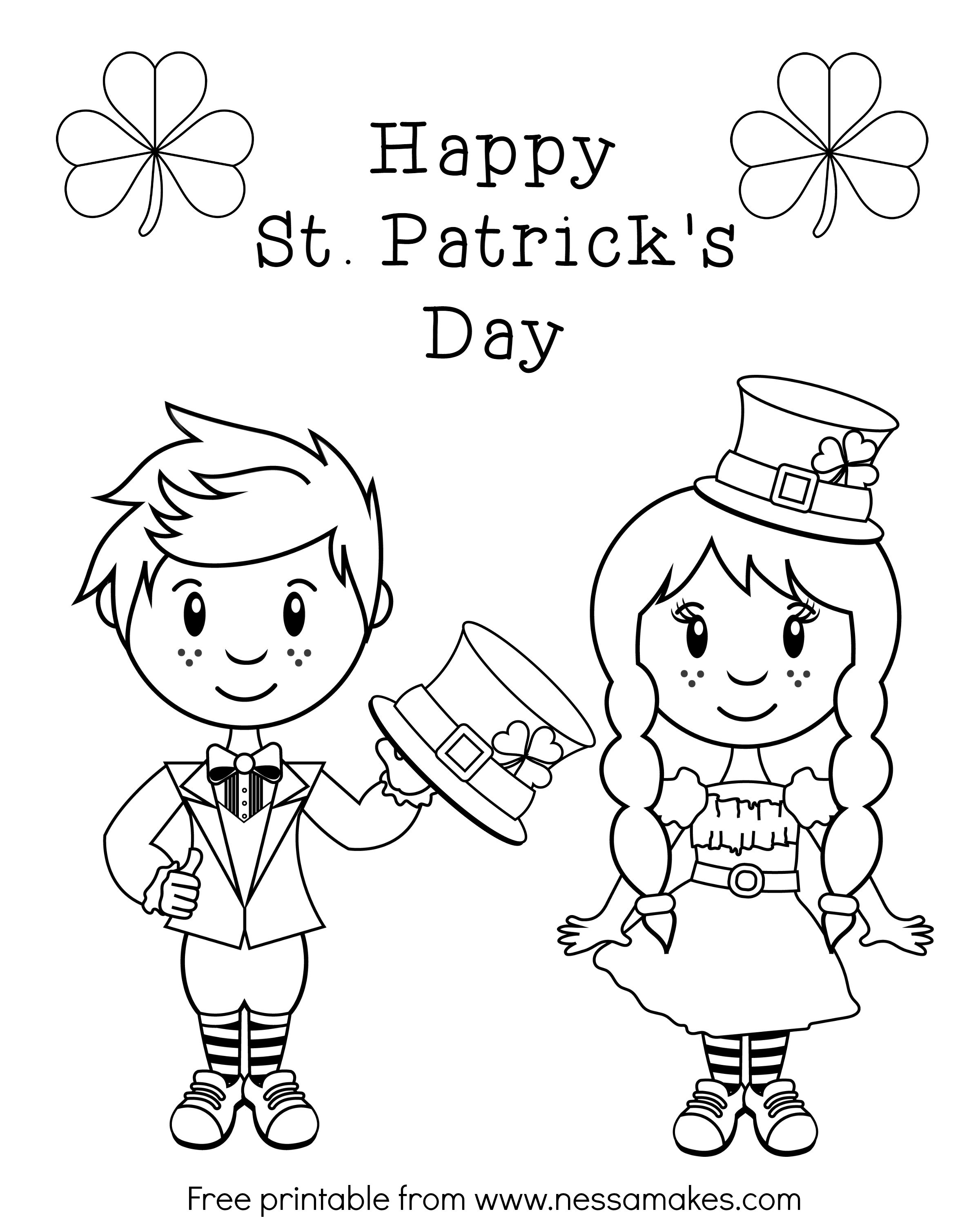 Free Printable St. Patrick\'s Day Coloring Sheets - Paper ...