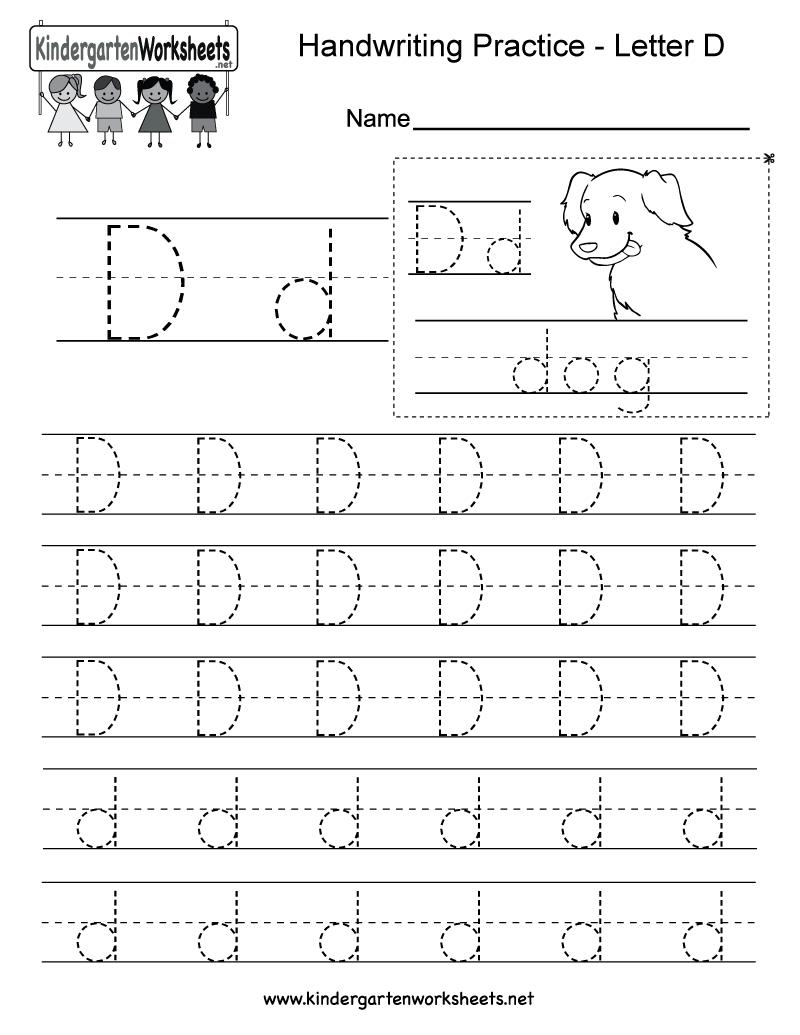 Letter D Writing Practice Worksheet. This Series Of Handwriting - Free Printable Worksheets Handwriting Practice