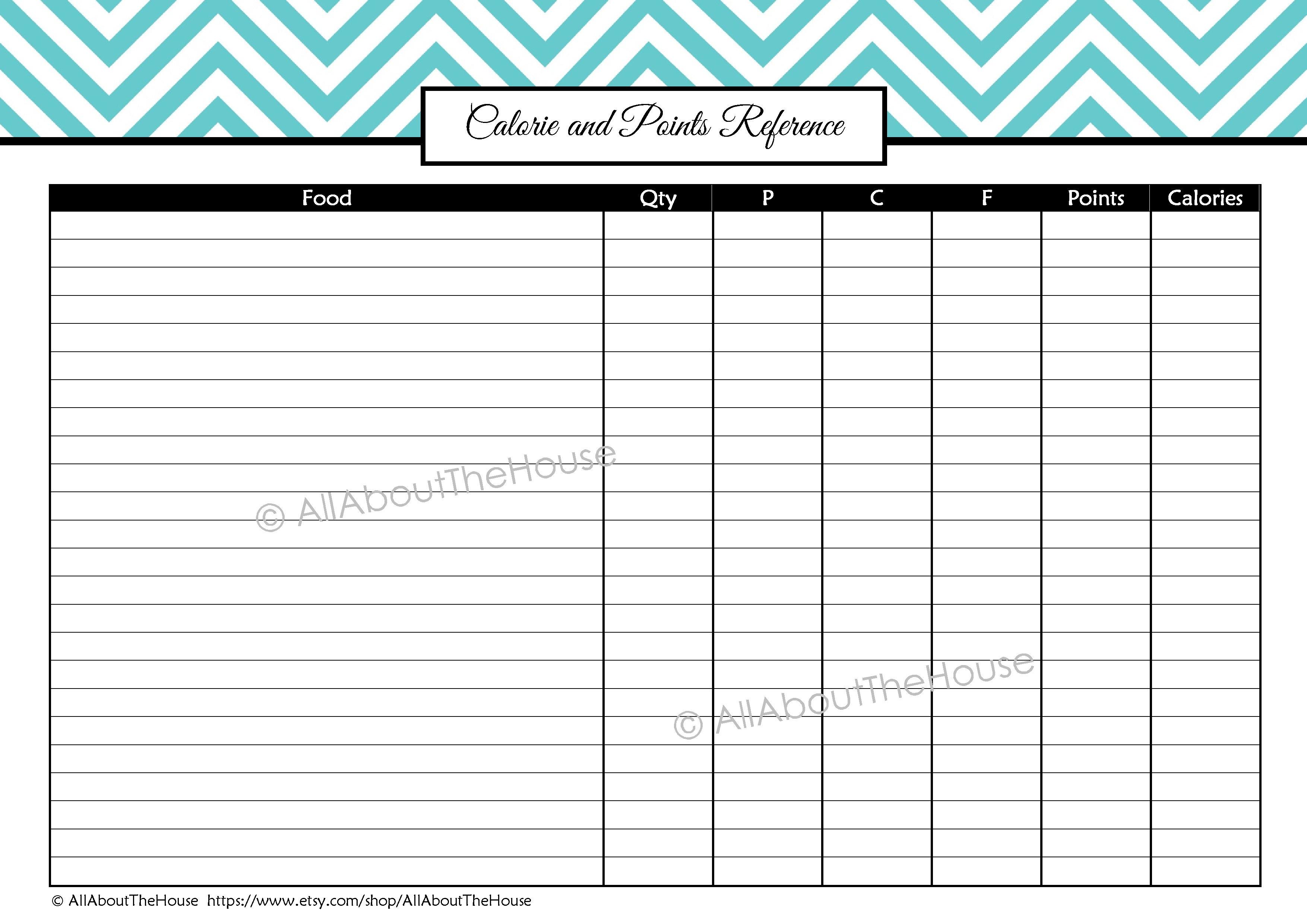 Log Calories - Kaza.psstech.co - Free Printable Calorie Counter Sheet