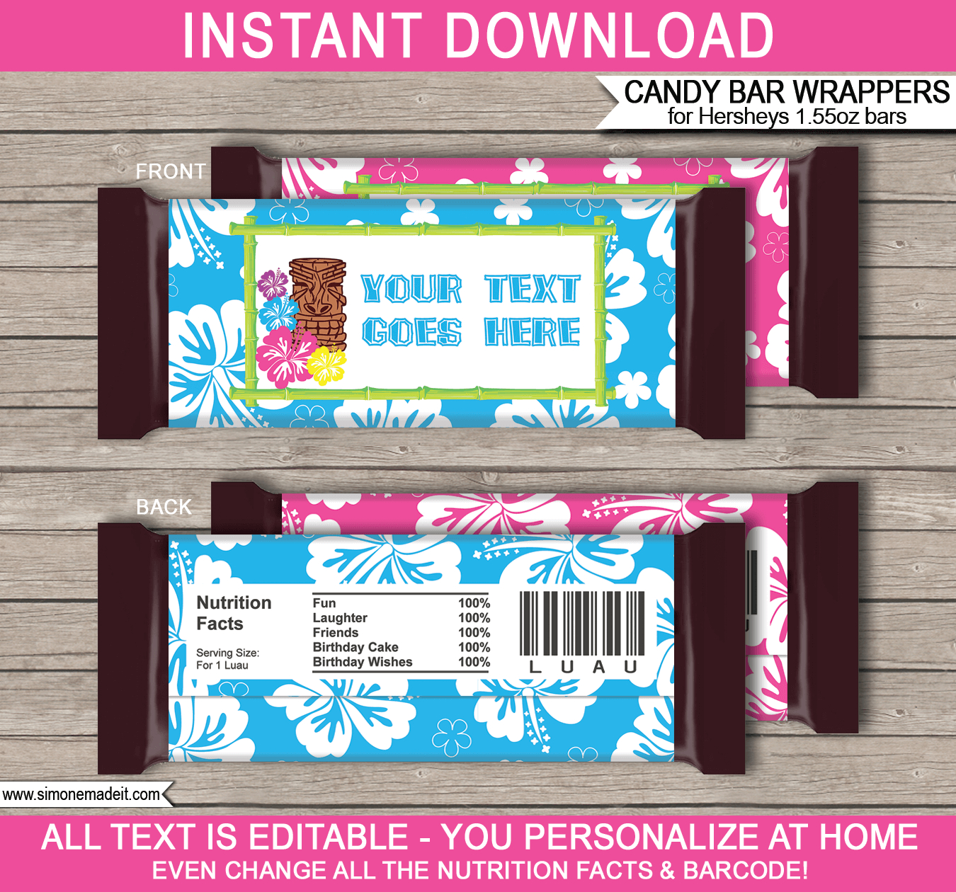 Luau Hershey Candy Bar Wrappers | Personalized Candy Bars - Free Printable Candy Bar Wrappers