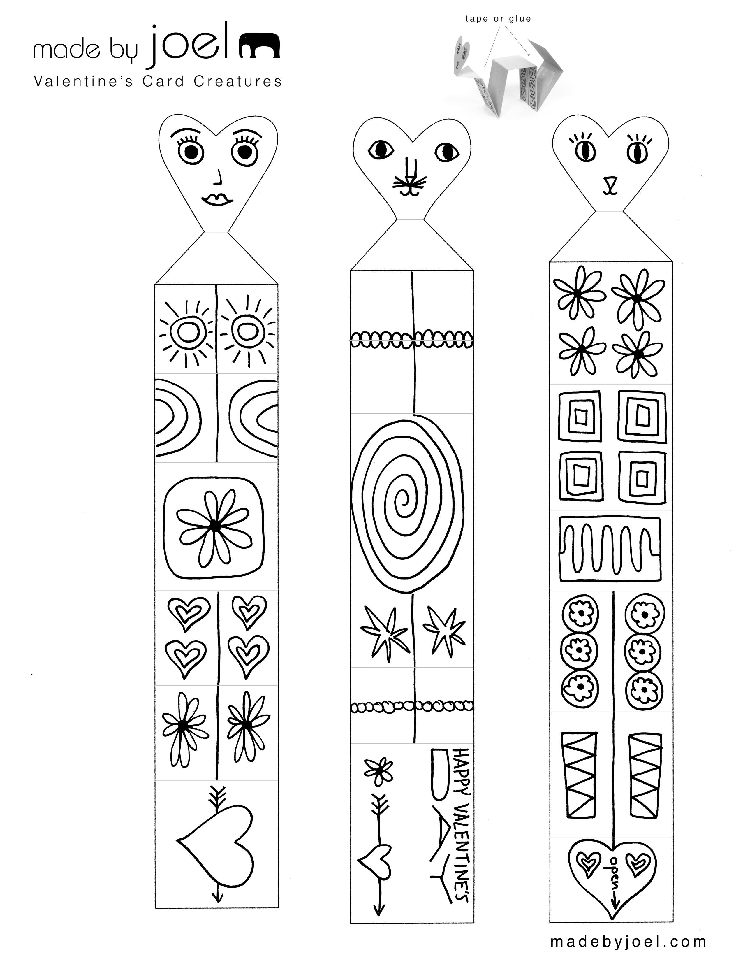 Madejoel » Valentine's Card Creatures   Kids Craft Printable - Free Printable Valentine's Day Stencils