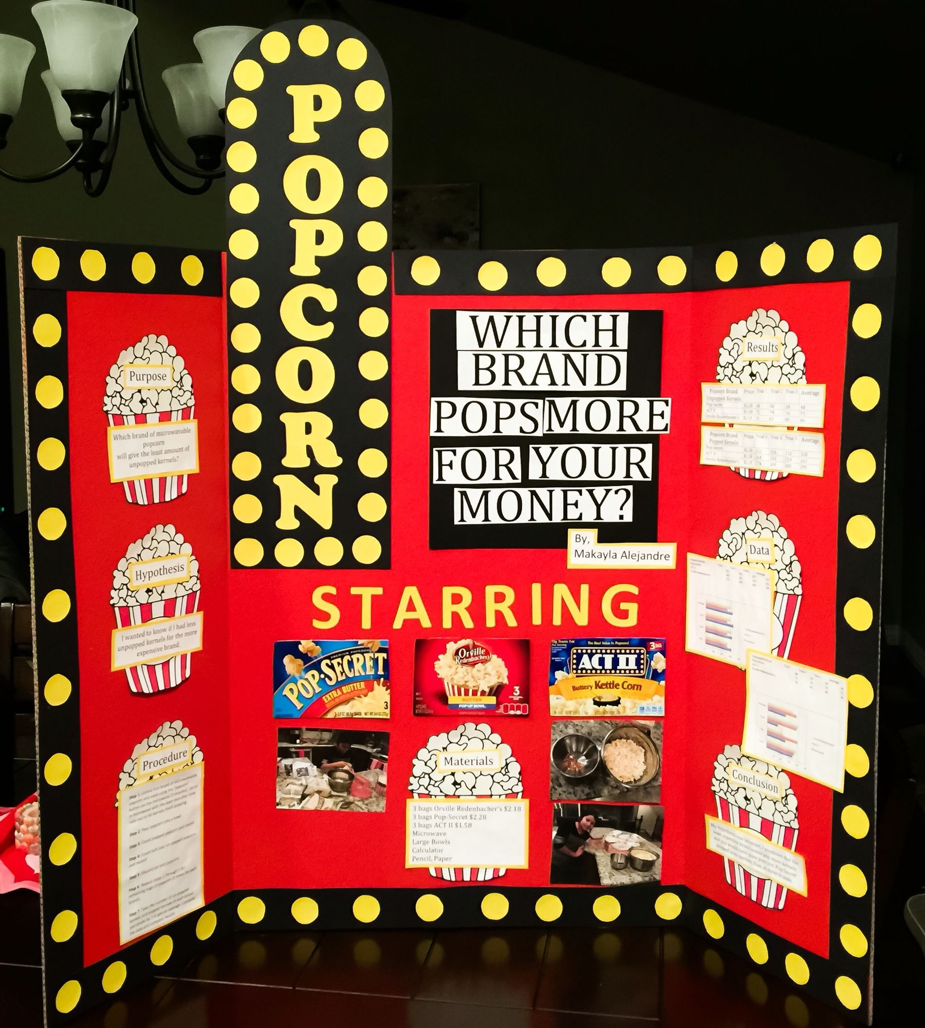 Makayla's 6Th Grade Popcorn Science Fair Project | Our School - Free Printable Science Fair Project Board Labels