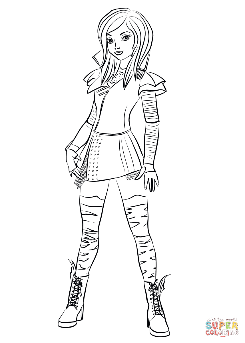 Mal From Descendants Coloring Page | Free Printable Coloring Pages - Free Printable Descendants Coloring Pages