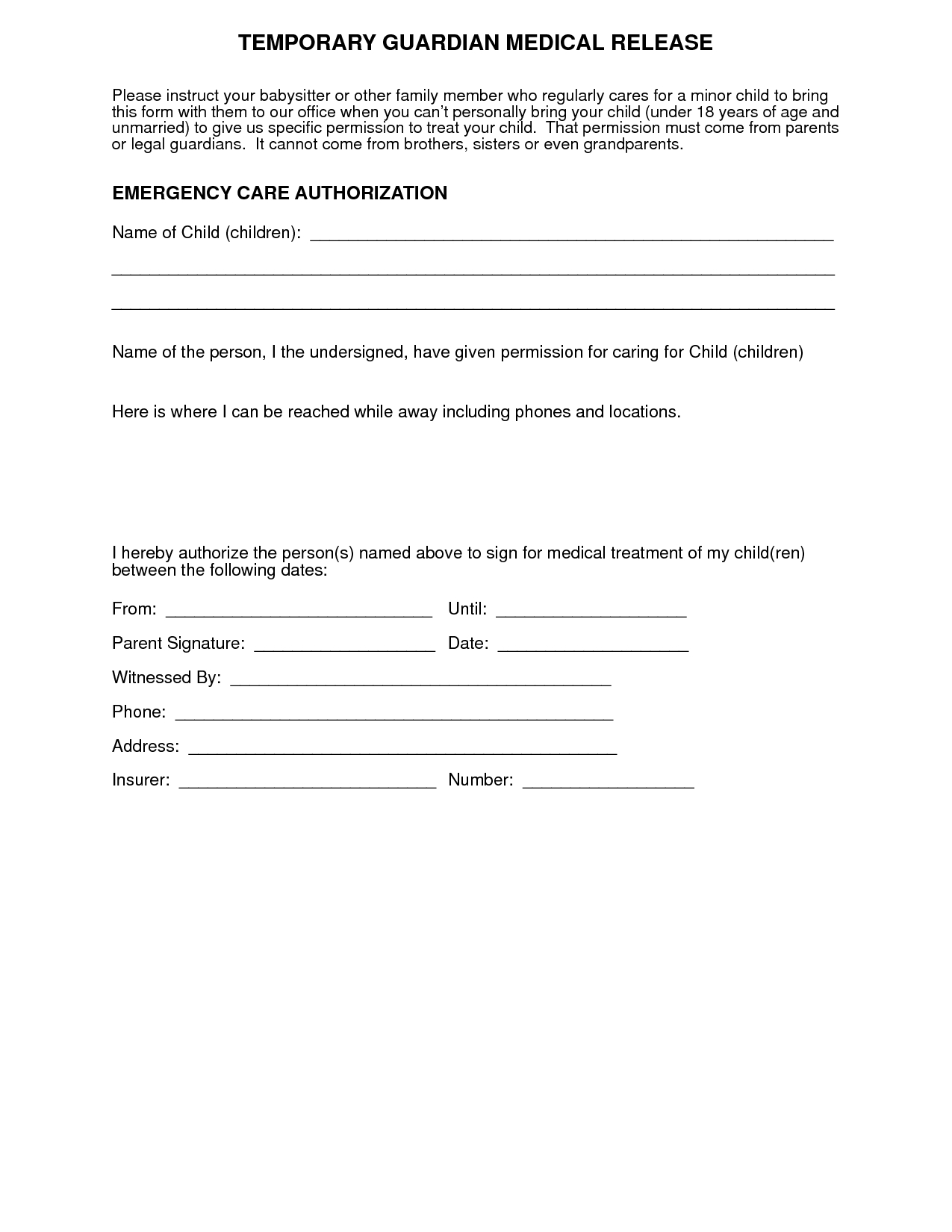 Medical+Authorization+Form+For+Grandparents   For More Medical - Free Printable Medical Forms Kit