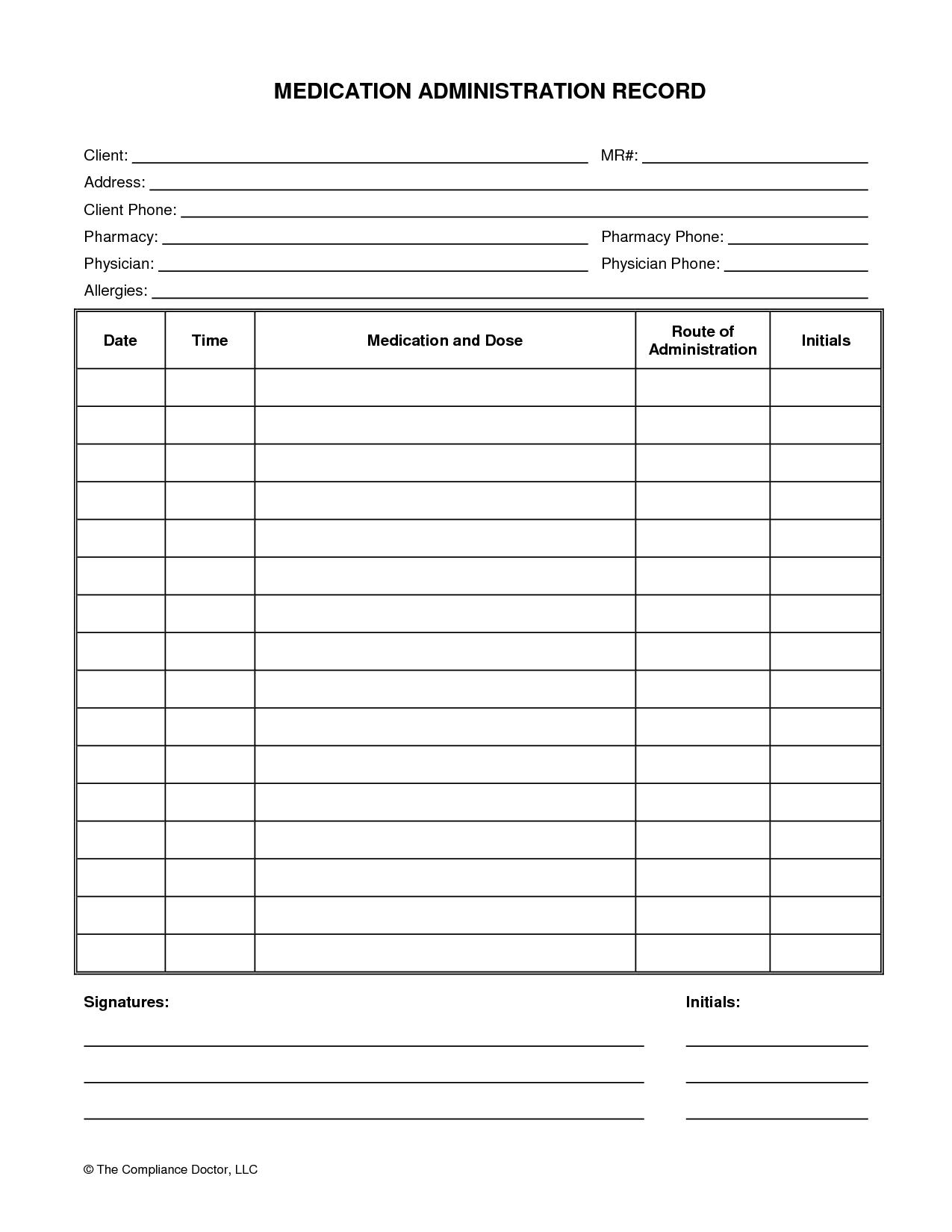 Medication Administration Record Form   Organization   Medication - Free Printable Medicine Daily Chart