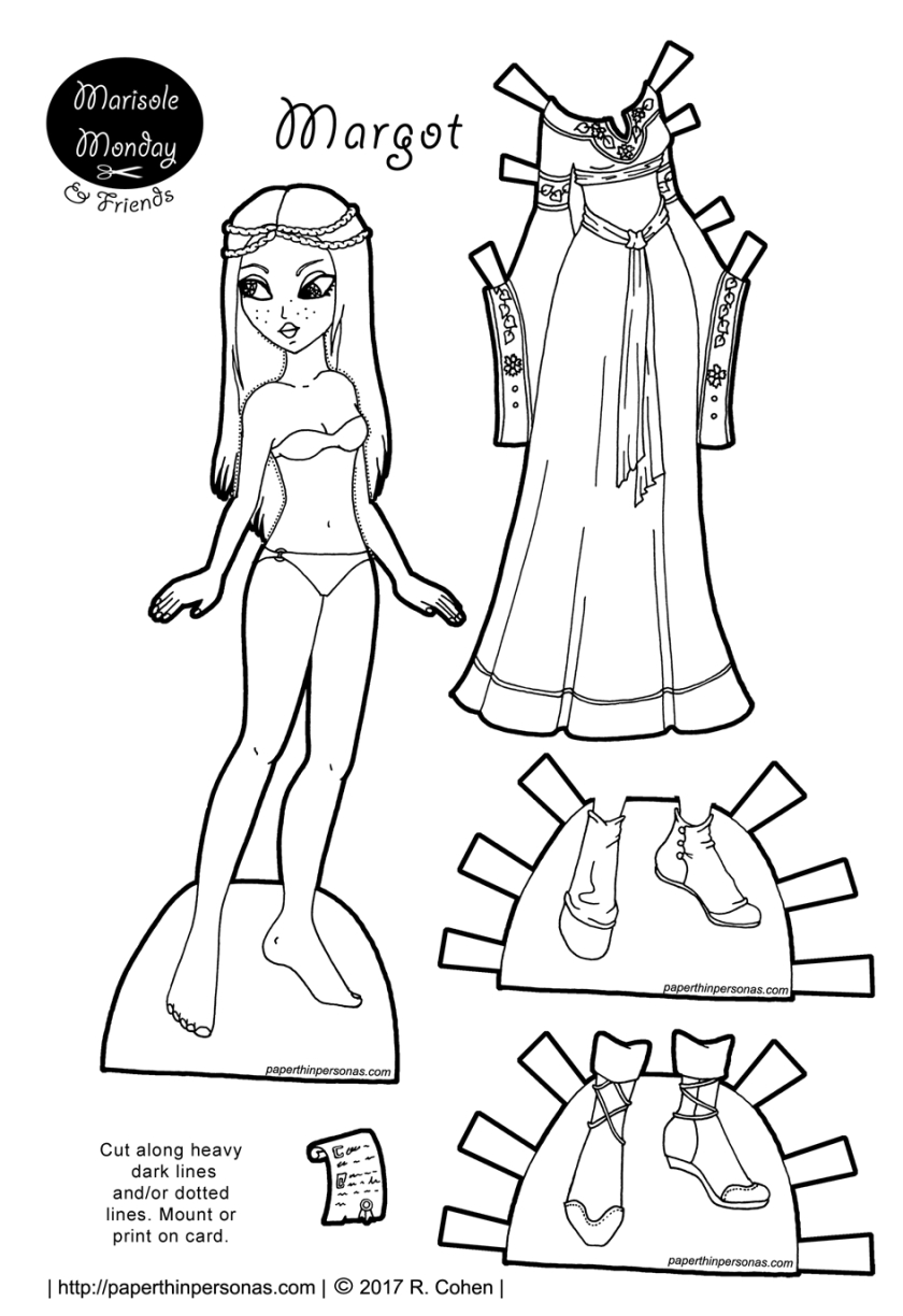 Medieval Fantasy Princess Paper Doll To Print In Color Or Black And - Medieval Paper Dolls Free Printable