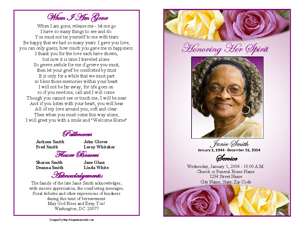 Memorial Service Programs Sample   Choose From A Variety Of Cover - Free Printable Memorial Card Template