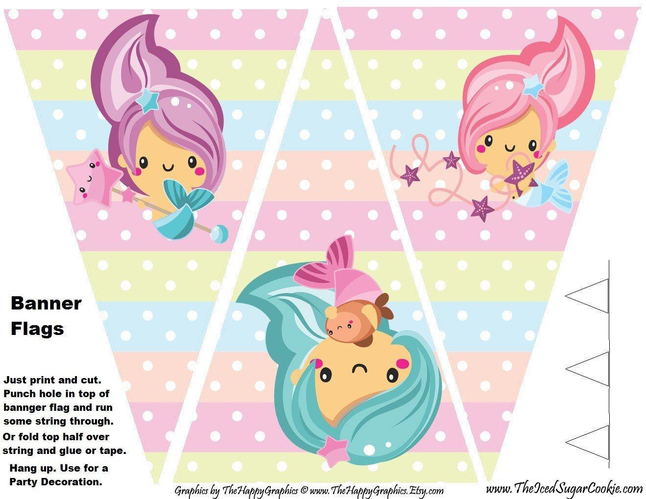 Mermaid Birthday Party Printables | Digital Download In 2019 - Free Printable Mermaid Cupcake Toppers
