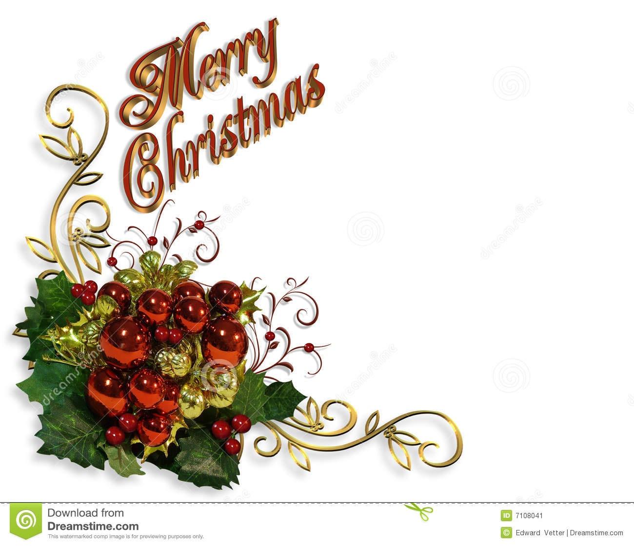 Merry Christmas Border Baubles Greeting Card Stock Illustration - Free Printable Religious Christmas Invitations