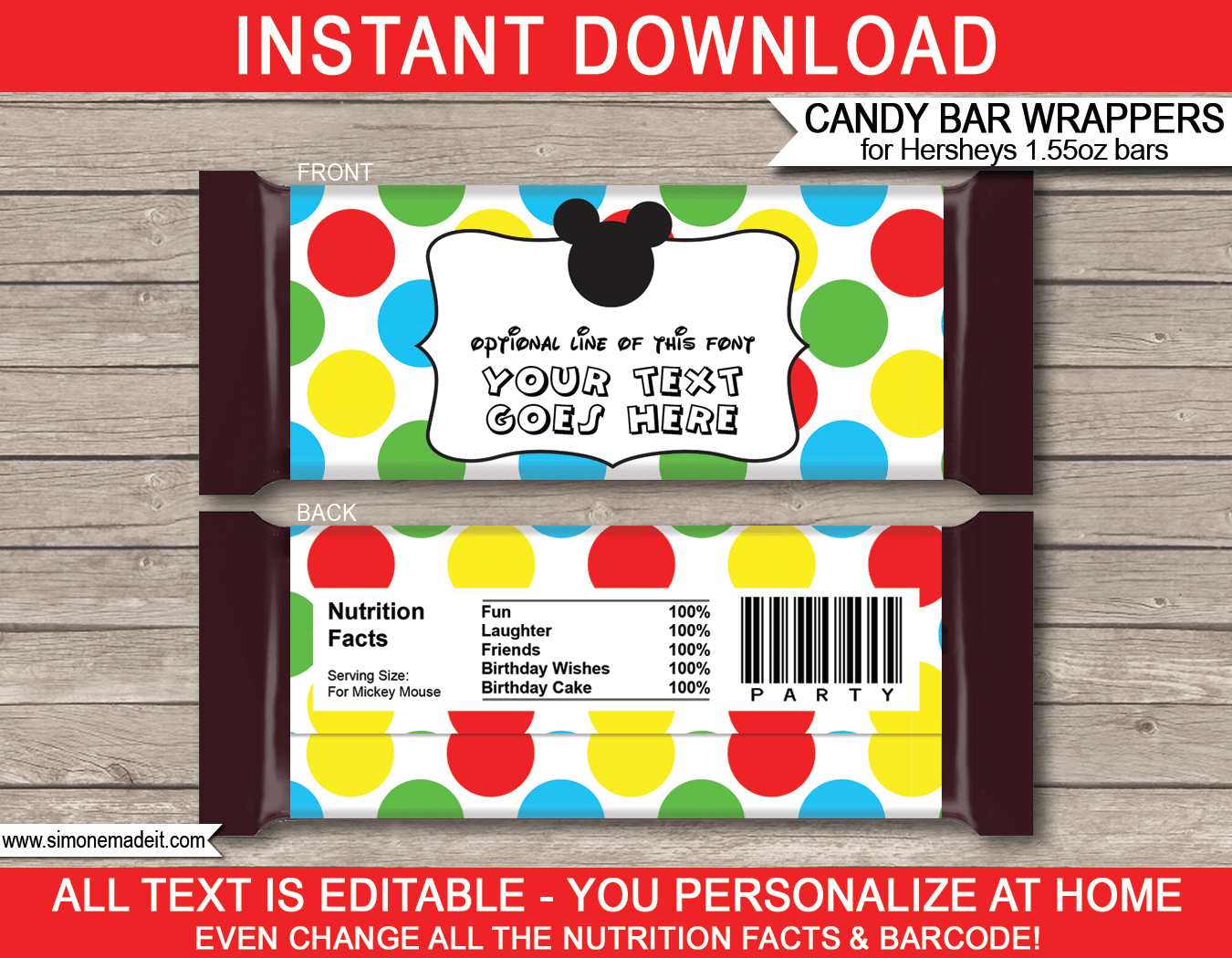 Mickey Mouse Hershey Candy Bar Wrappers | Personalized Candy Bars - Free Printable Candy Bar Wrappers