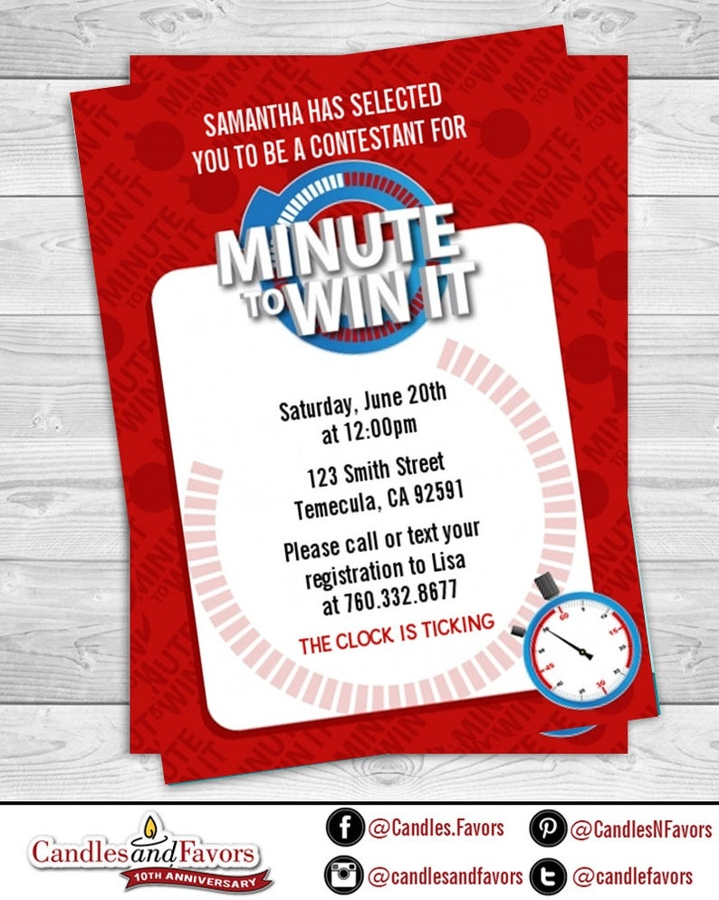 Minute To Win It - Birthday Party Invitation Professionally Printed *or*  Diy Printable Pdf - Free Printable Minute To Win It Invitations