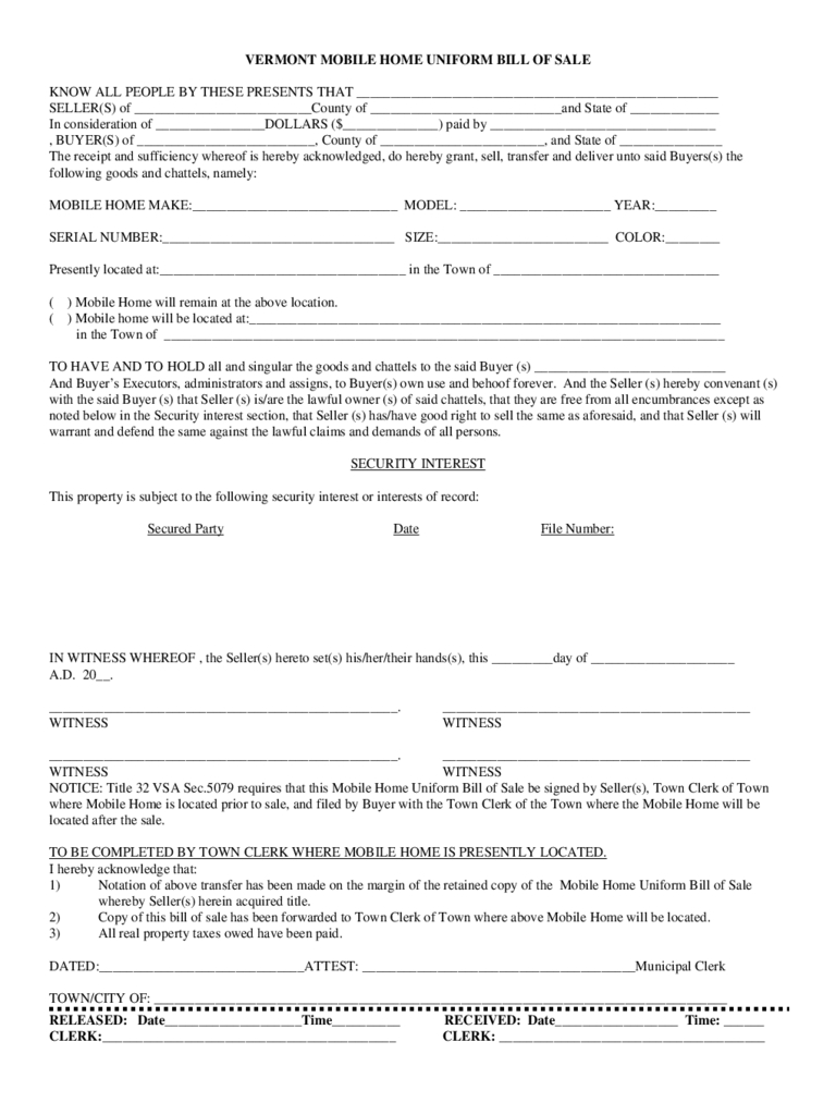 Mobile Home Bill Of Sale Template Word | Camisonline - Free Printable Bill Of Sale For Mobile Home