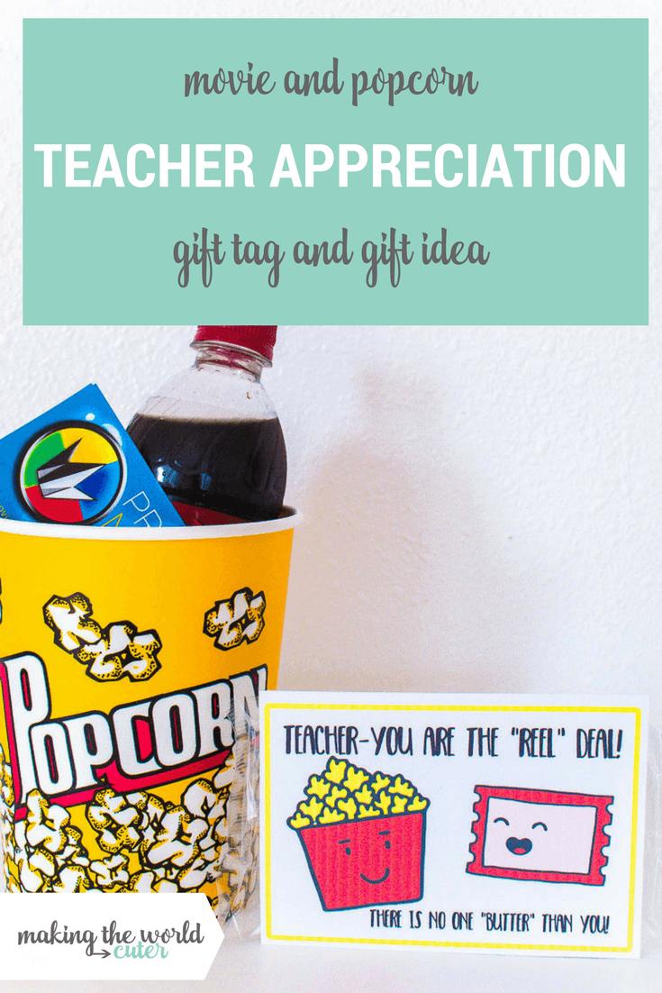 Movie Teacher Appreciation Ideas Free Printable Tag - Free Popcorn Teacher Appreciation Printable