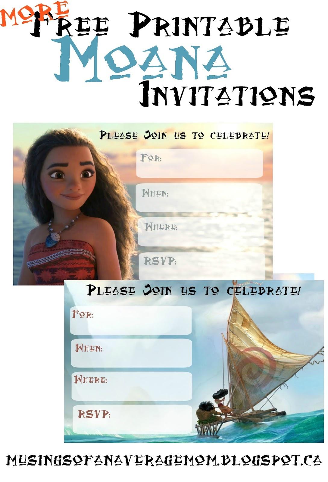 Musings Of An Average Mom: Free Printable Moana Invitations 2 - Free Moana Printable Invitations