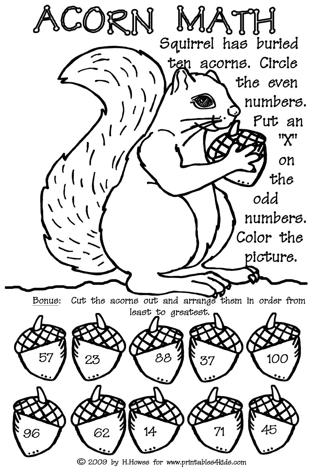 Odd And Even Double Digit Fall Math Worksheet : Printables For Kids - Free Printable Fall Math Worksheets
