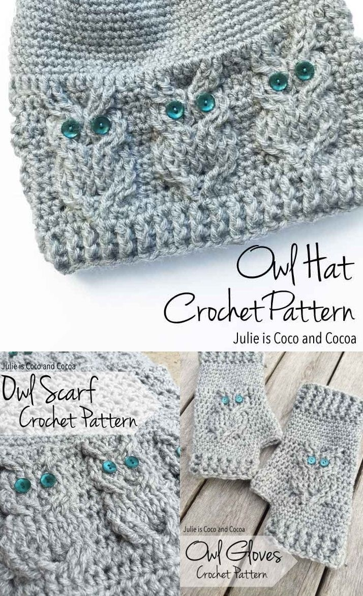 Owl Crochet Free Patterns Including A Scarf, Gloves And Hat - Free Printable Crochet Patterns