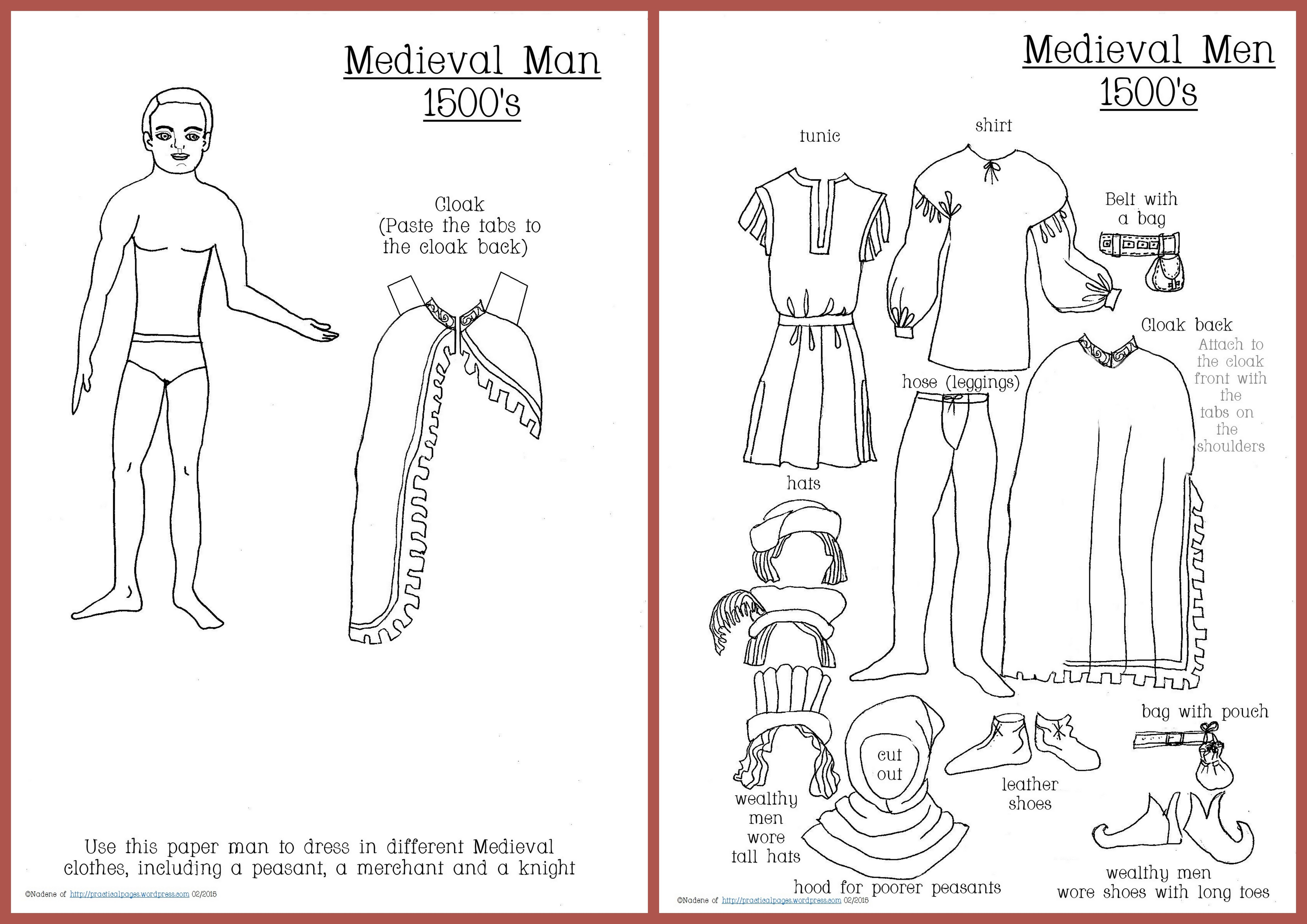 Paper Dolls | Practical Pages - Medieval Paper Dolls Free Printable