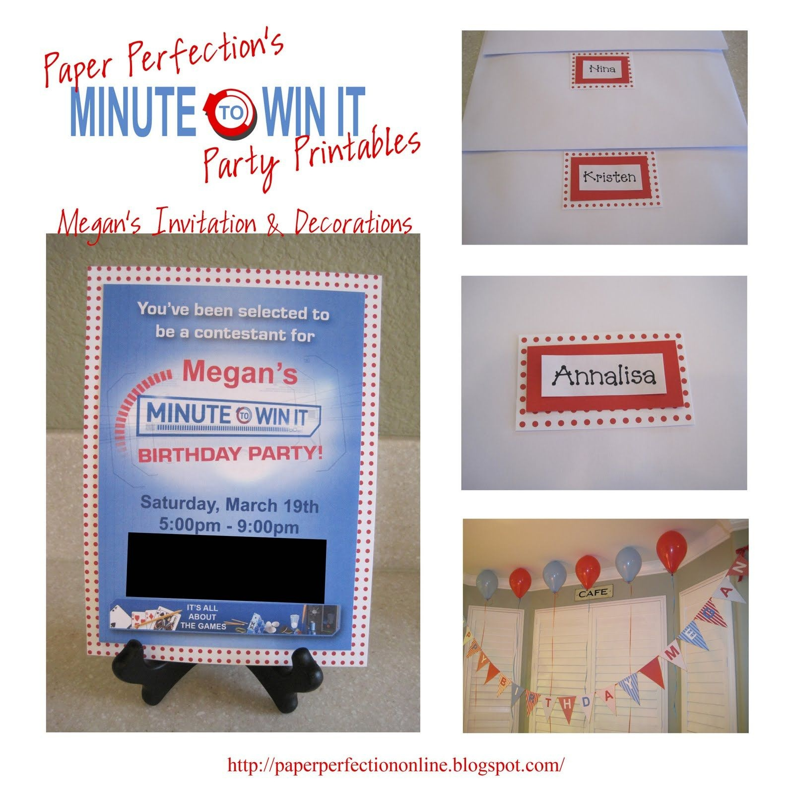 """Paper Perfection: Free """"minute To Win It"""" Birthday Party Invitation - Free Printable Minute To Win It Invitations"""