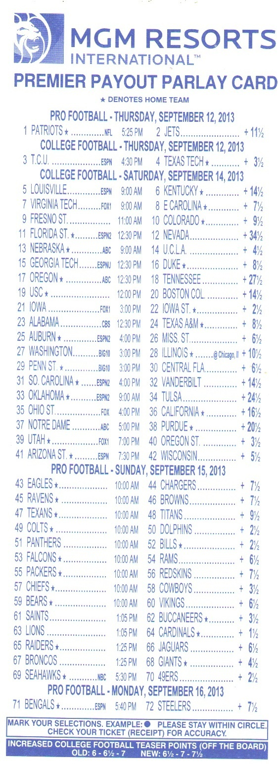 Parlay Bets In The Nfl - Free Printable Parlay Cards