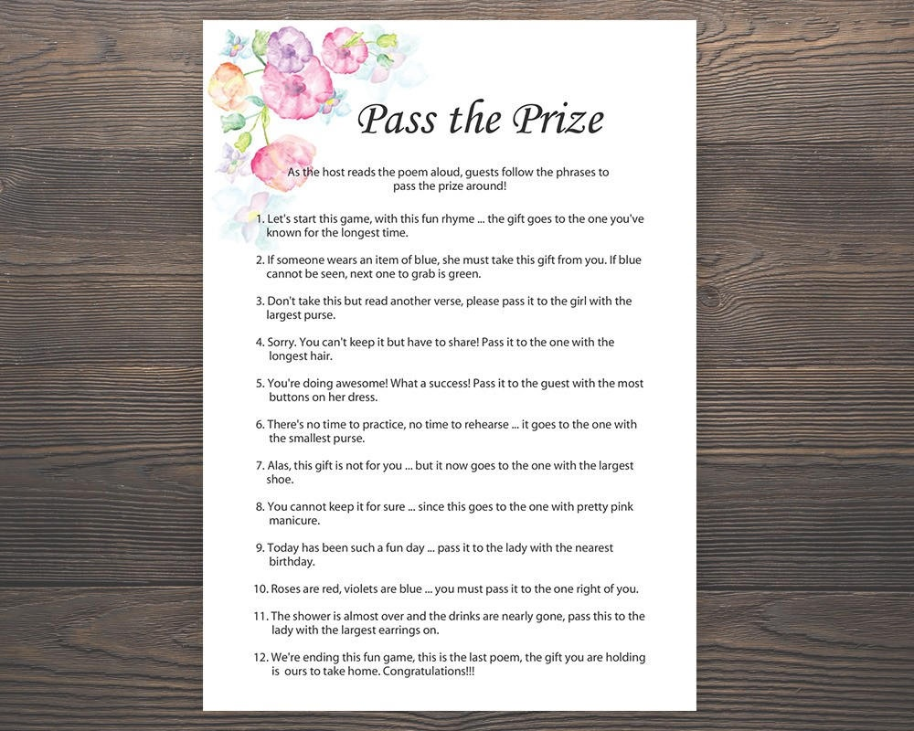 Pass The Prize Baby Shower Games Girl Baby Shower Rhyme   Etsy - Pass The Prize Baby Shower Game Free Printable