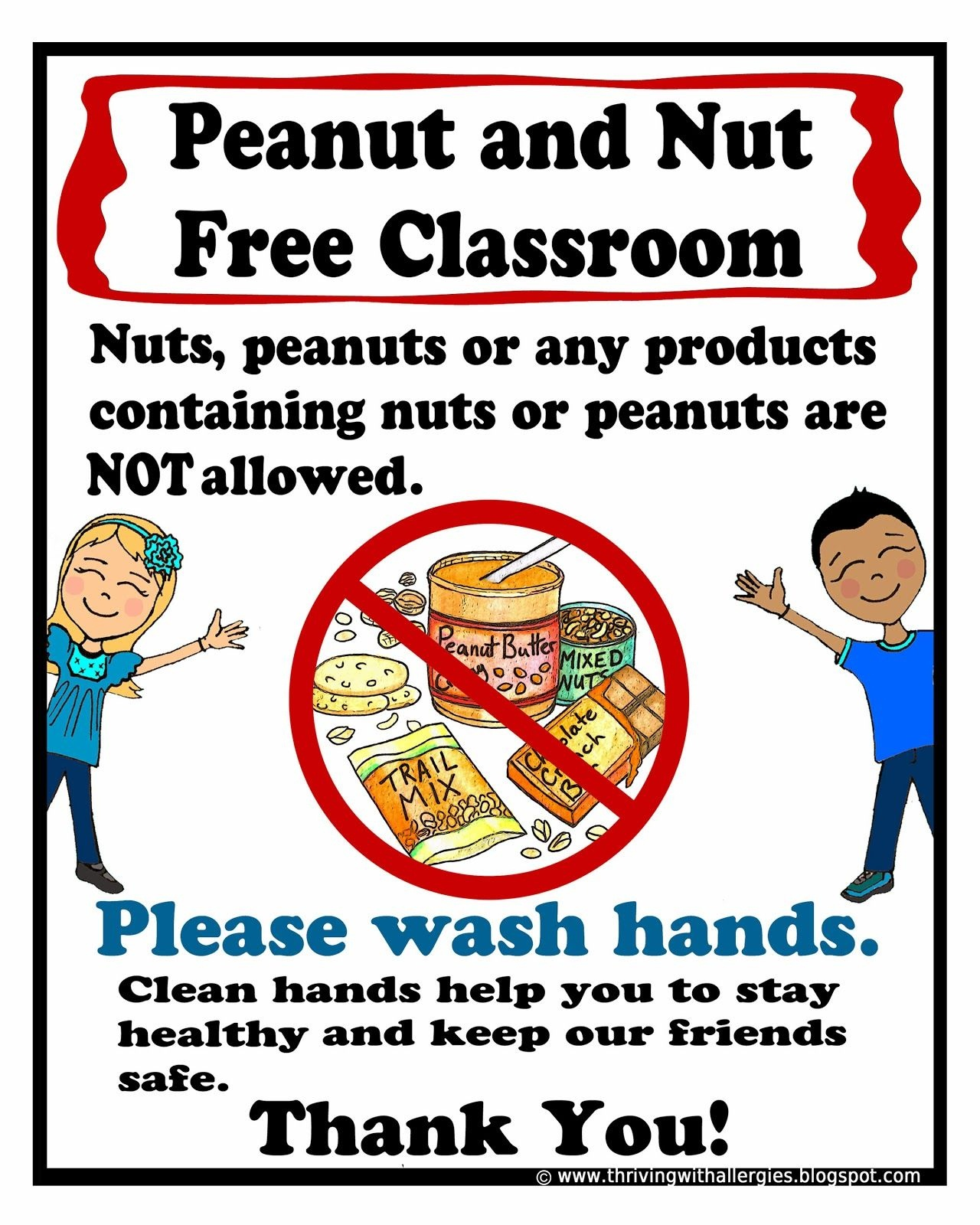 Peanut And Nut Free Classroom Poster. Free Printable Poster | Food - Printable Peanut Free Classroom Signs