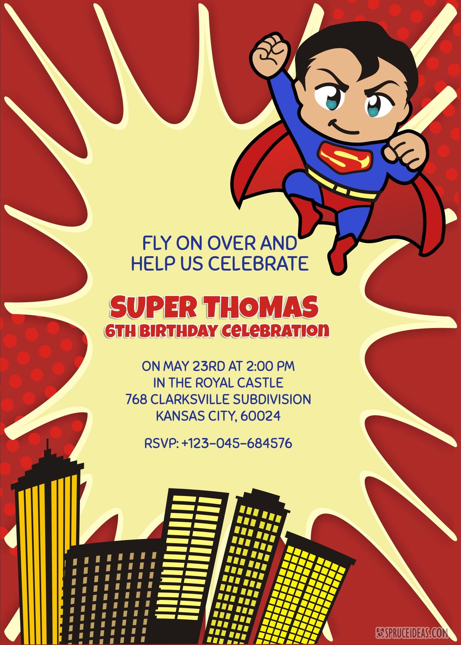 Personalized Superhero Superman Birthday Invitation Template - Free Printable Superman Invitations