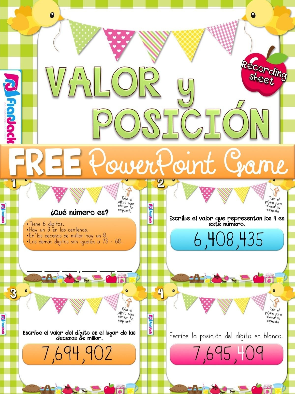 Place Value Picnic Spanish Powerpoint Game Freebie | Dual Language - Free Printable Place Value Chart In Spanish