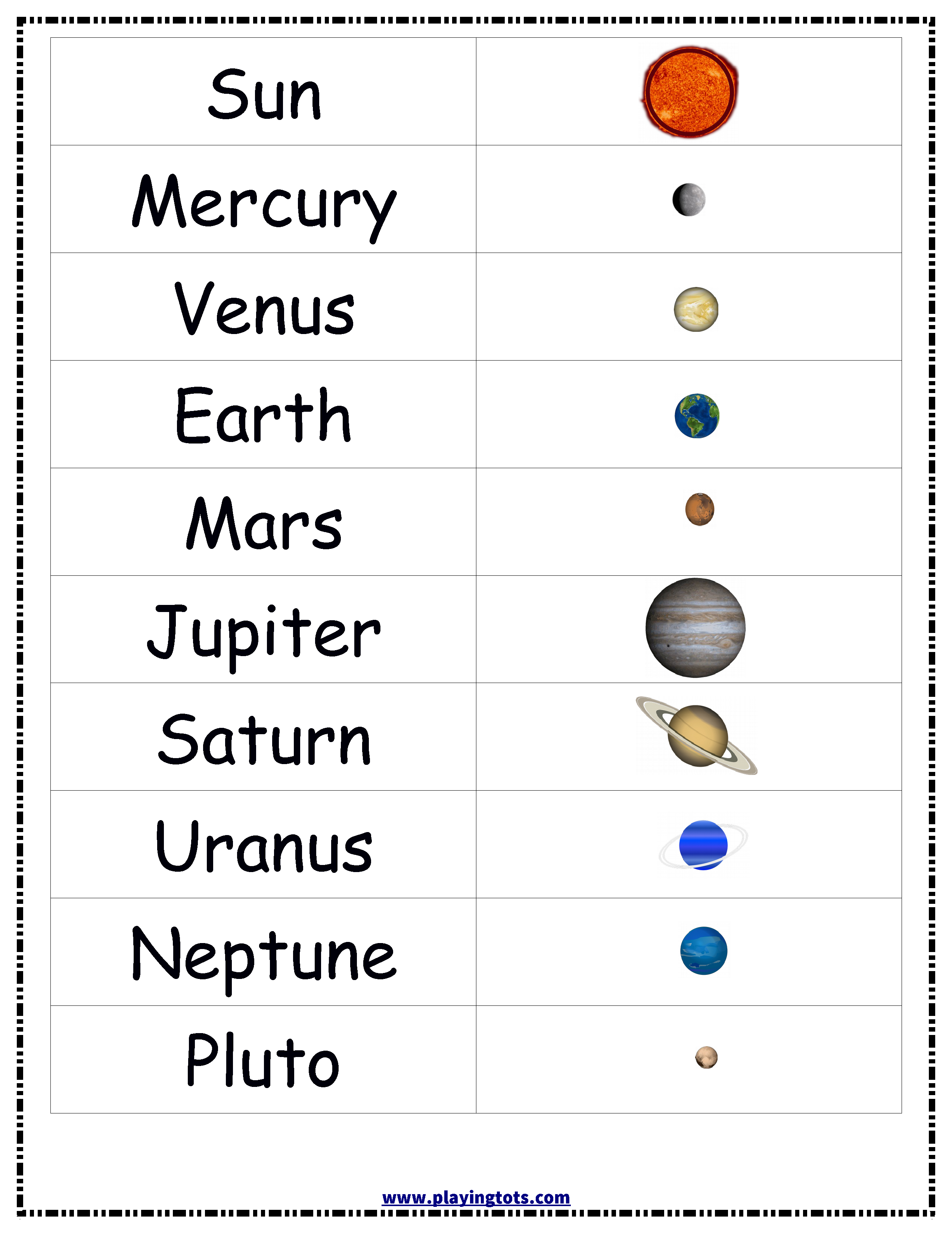Planets,solar,system,sun,earth,chart,free,printable,toddler - Solar System Charts Free Printable