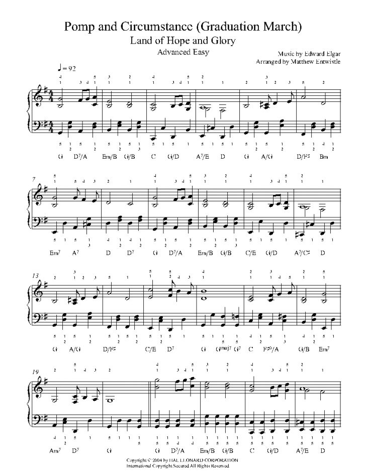 Free Printable Sheet Music Pomp And Circumstance