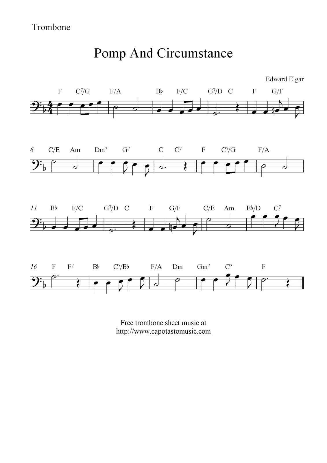 Pomp And Circumstance (Land Of Hope And Glory), Free Trombone Sheet - Free Printable Sheet Music Pomp And Circumstance