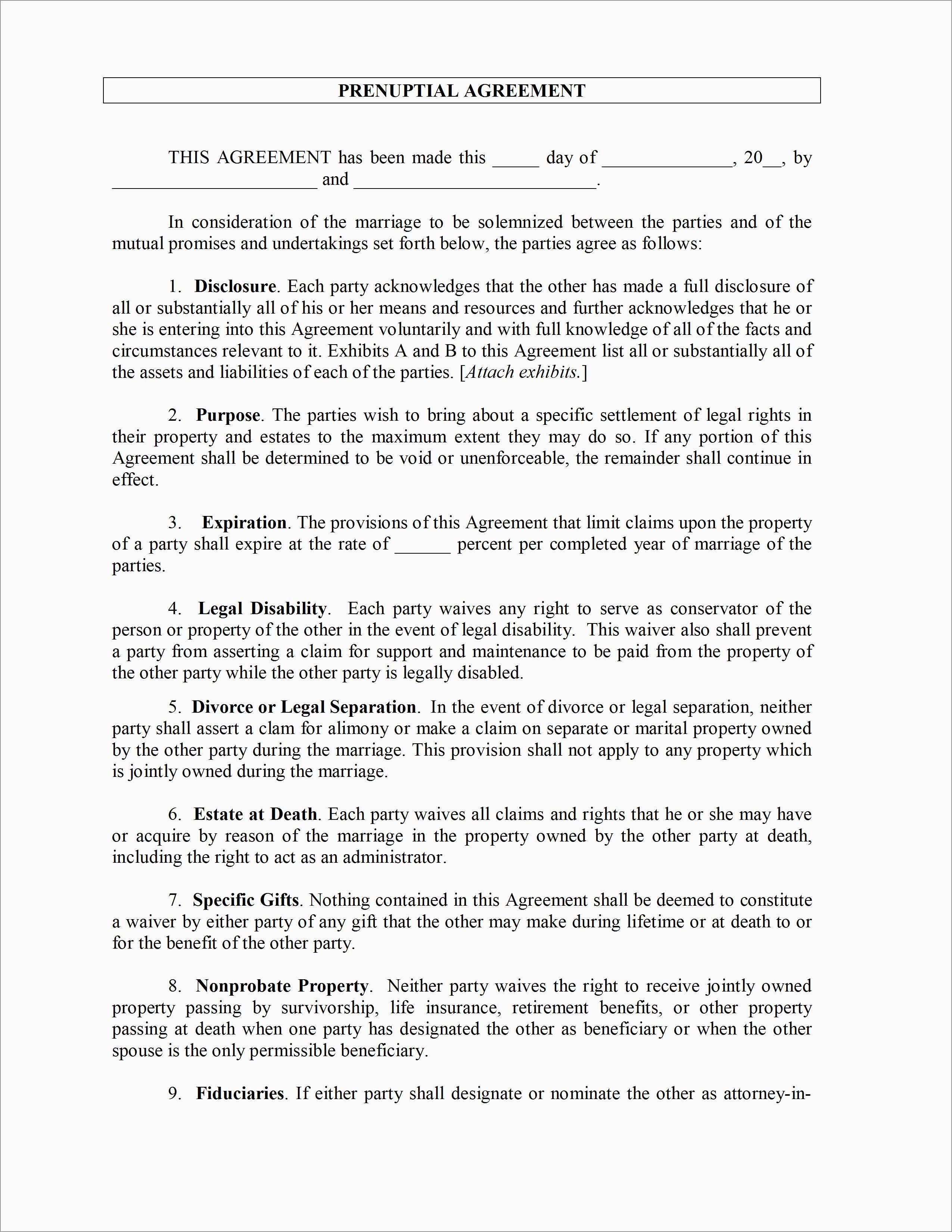Prenup Template Free Fabulous Prenuptial Agreement Template   Best - Free Printable Prenuptial Agreement Form