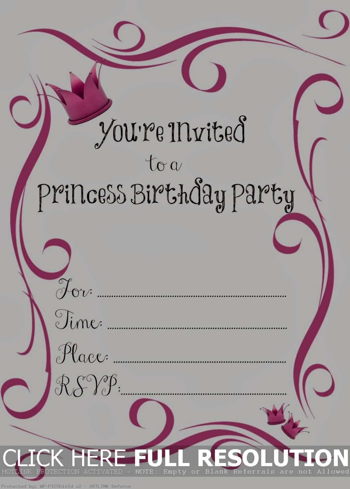 Princess Birthday Invitation Blank - American Girl Party Invitations Free Printable