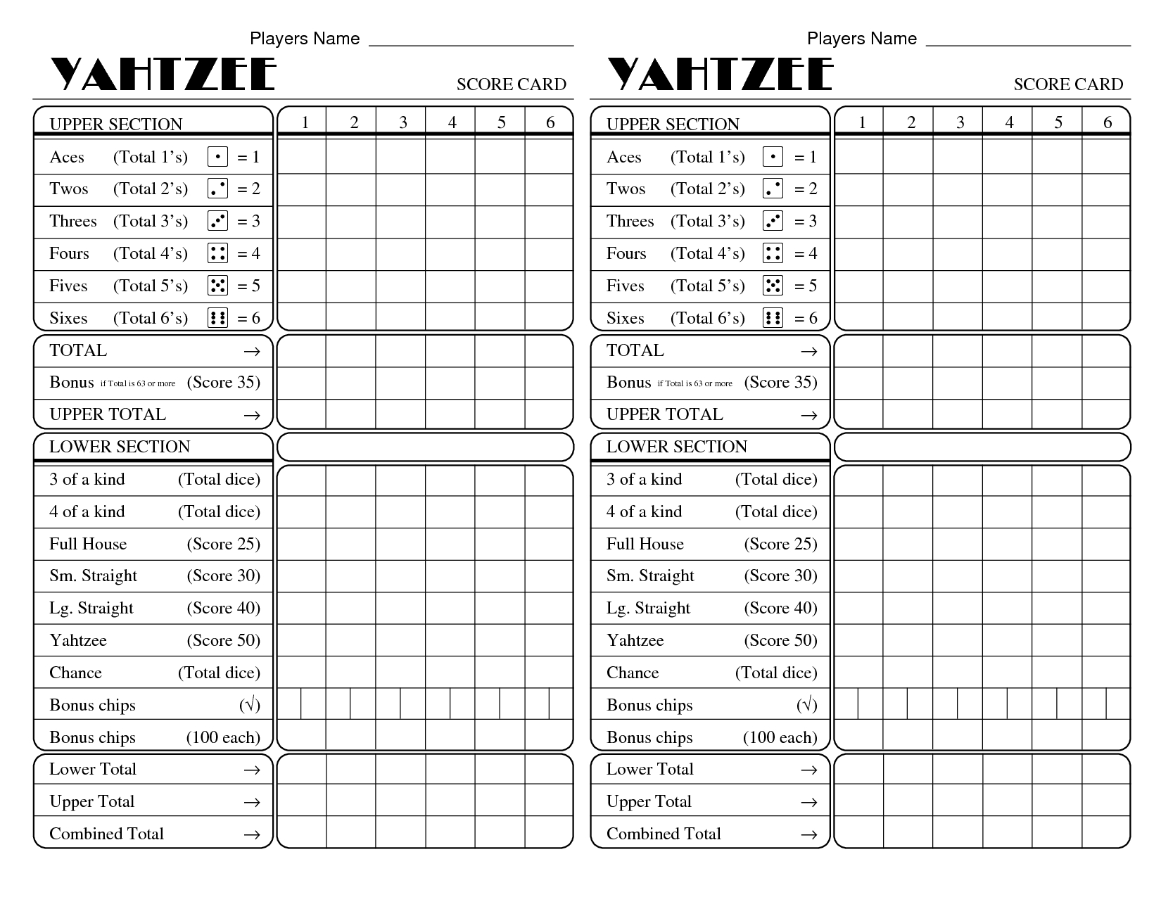 image relating to Printable Yahtzee Score Card identified as Yahtzee Rating Card - Absolutely free Printable Yahtzee Ranking Sheets