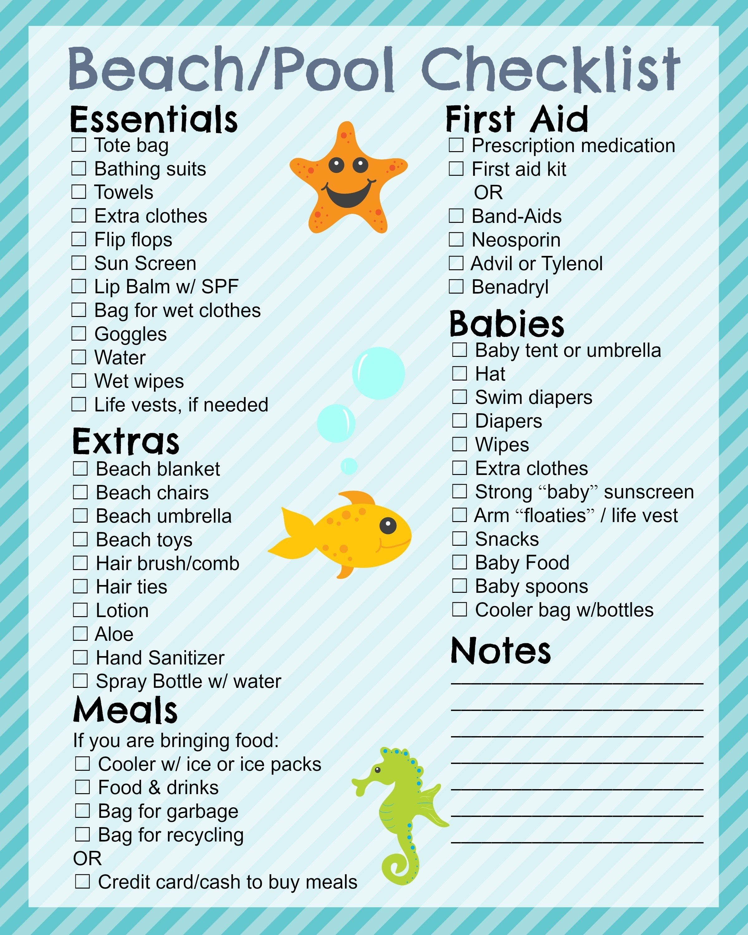 Printable Beach Checklist - In The Playroom - Free Printable Beach Pictures