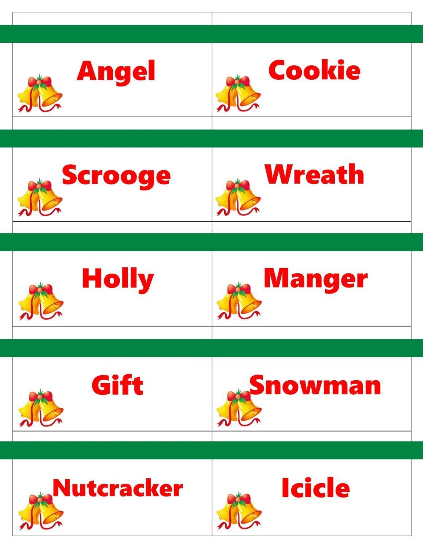 Printable Christmas Game Cards For Pictionary Or Charades, Hangman - Free Printable Christmas Pictionary Cards