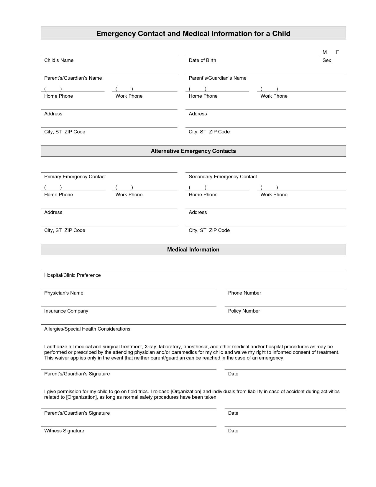 Printable Emergency Contact Form Template   Home Daycare   Daycare - Free Printable Daycare Forms