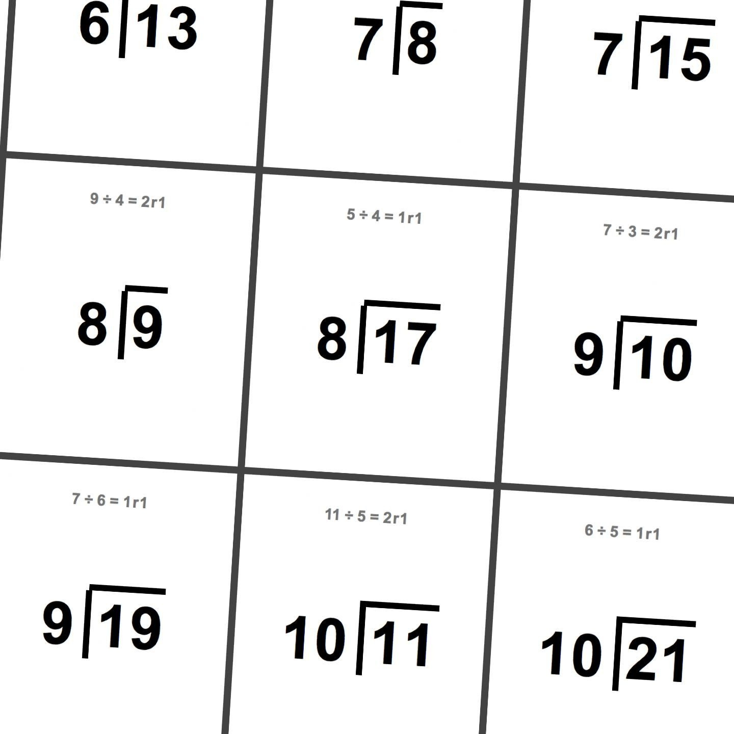 Printable Flash Cards: Division With Remainders | Math Worksheets - Free Printable Division Flash Cards