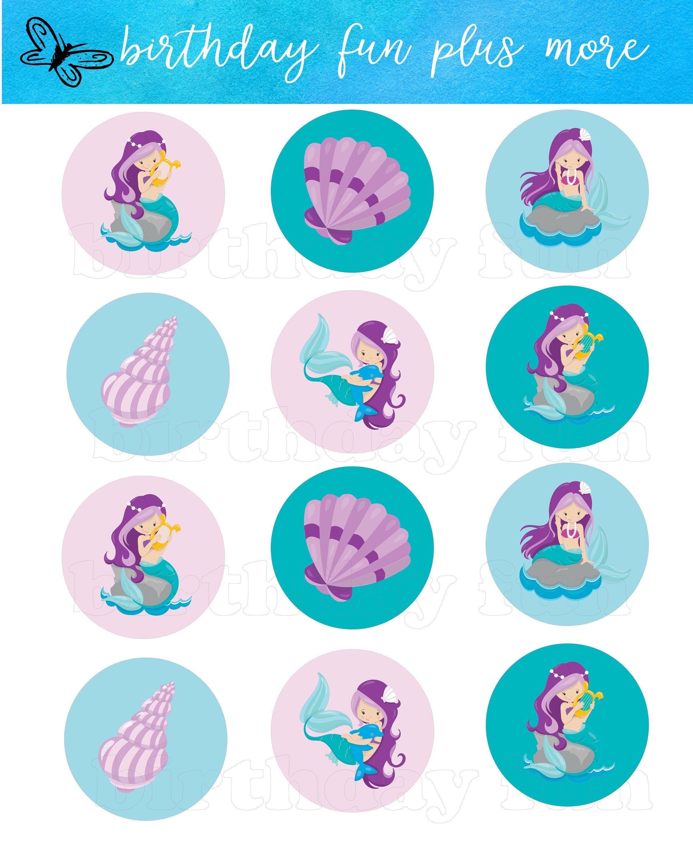 Printable Mermaid Cupcake Toppers Digital Mermaid Rounds | Etsy - Free Printable Mermaid Cupcake Toppers