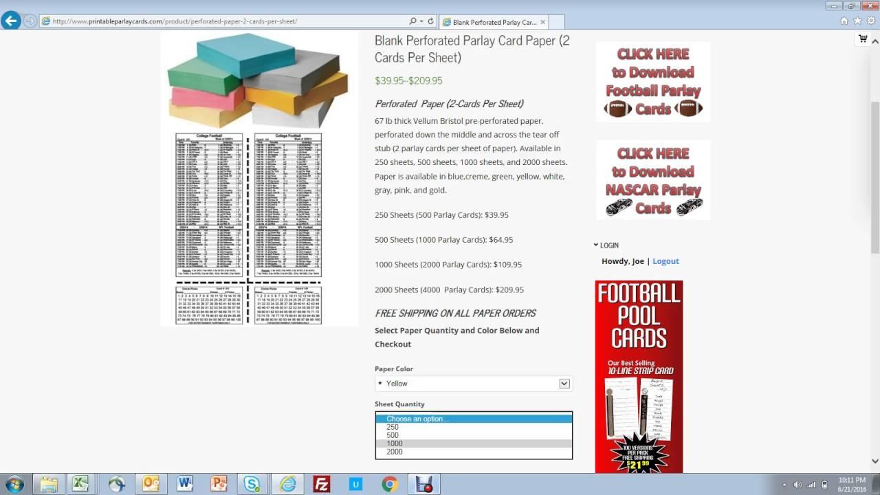 Printable Parlay Cards - Free Printable Parlay Cards