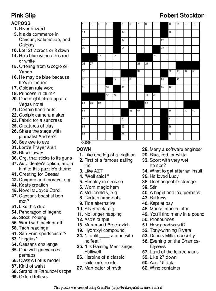 Free Printable Crossword Puzzles For Adults