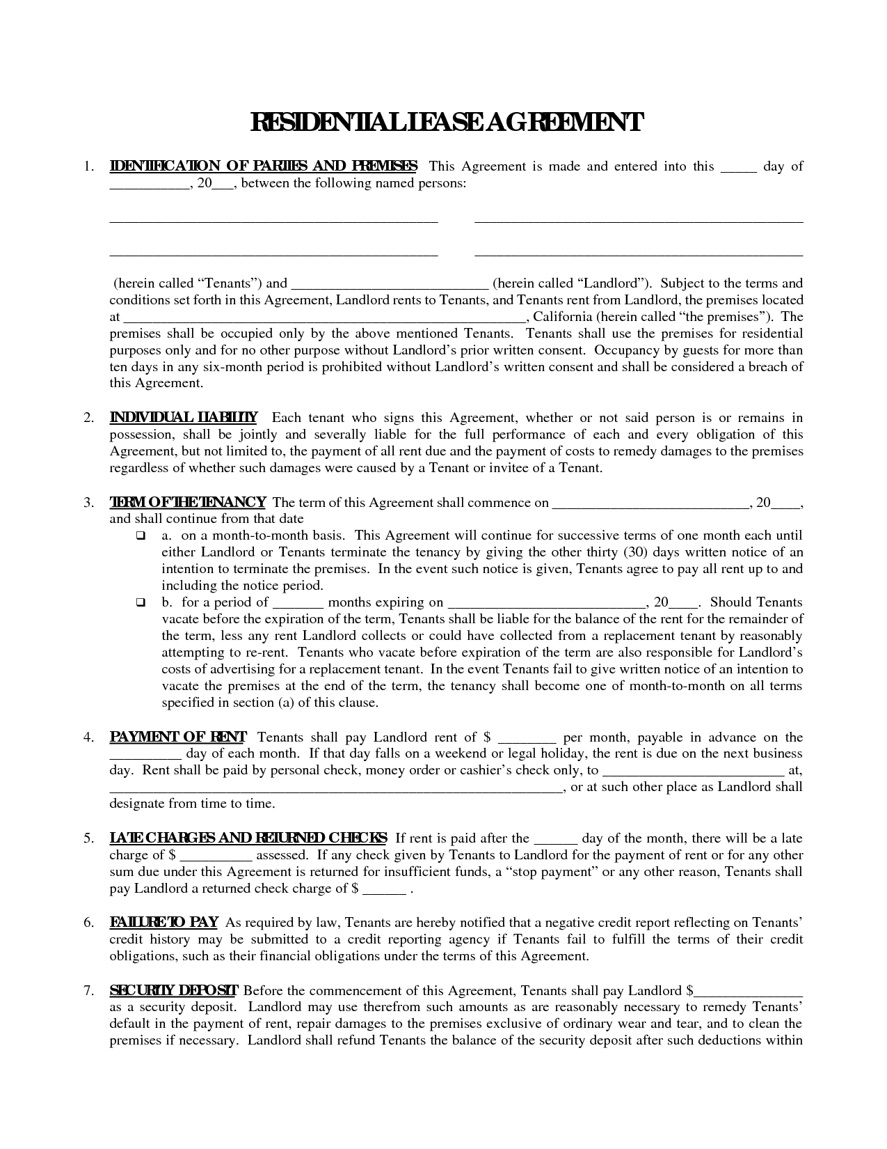 Printable Residential Free House Lease Agreement   Residential Lease - Blank Lease Agreement Free Printable
