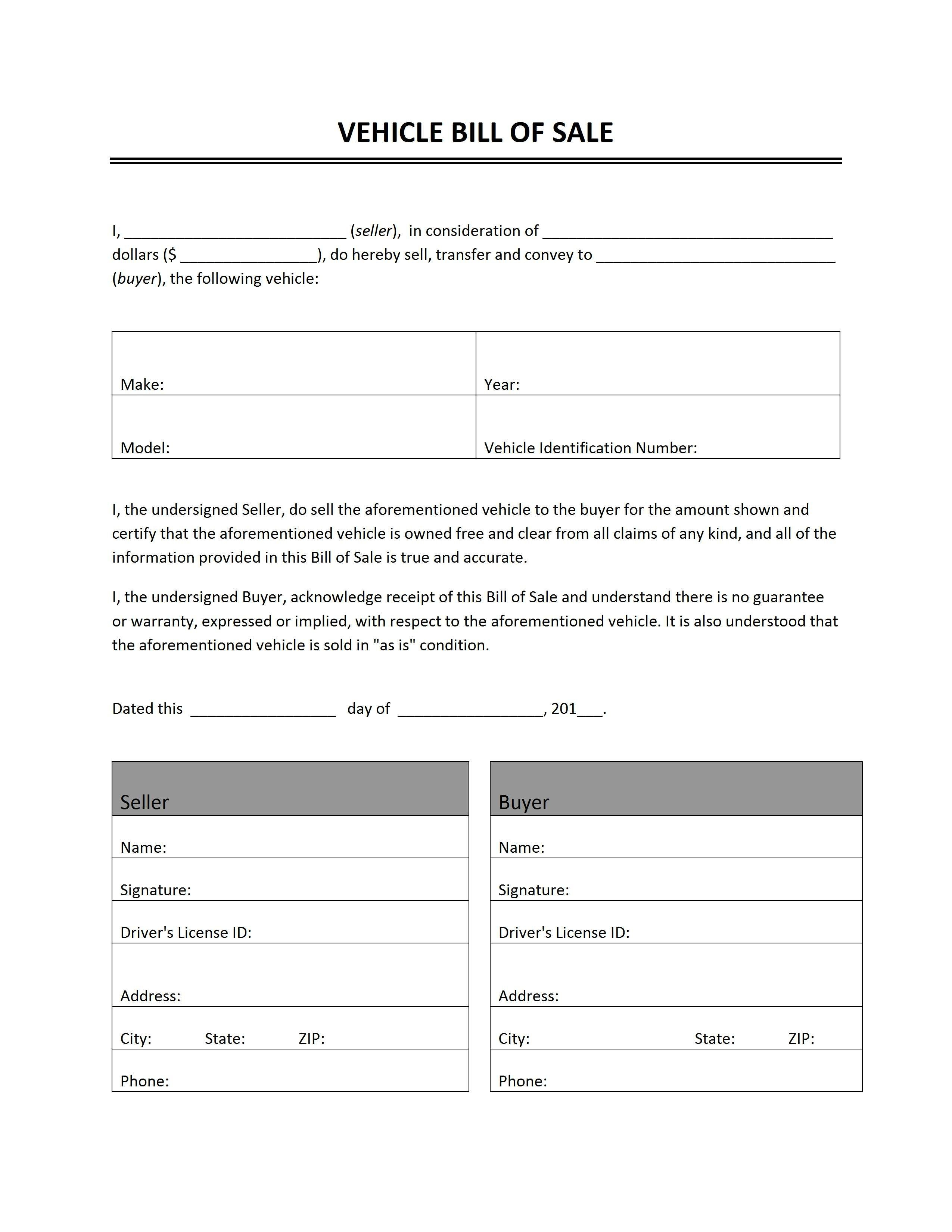 Printable Sample Auto Bill Of Sale Form | Forms And Template In 2019 - Free Printable Blank Auto Bill Of Sale
