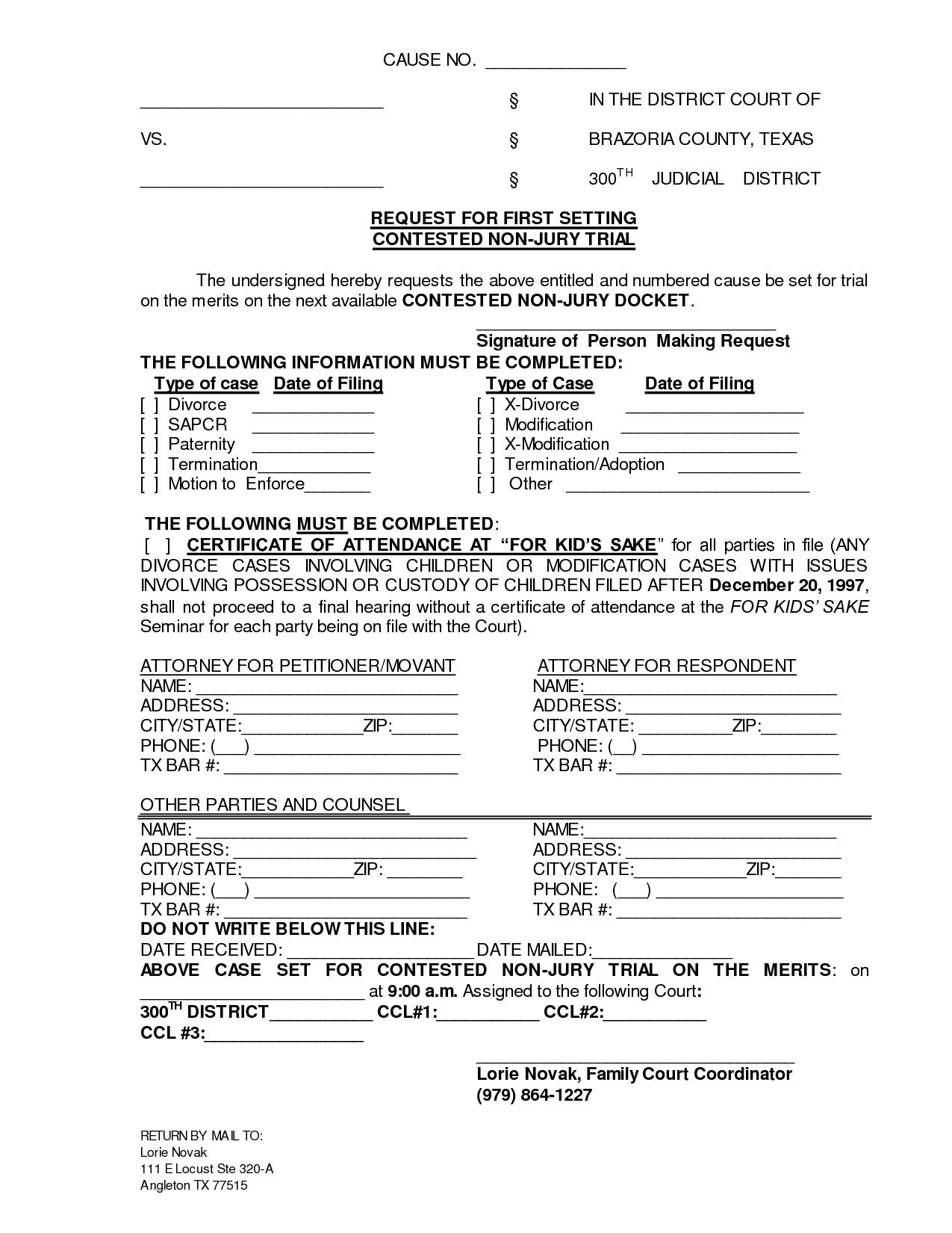 Printable Sample Divorce Documents Form | Laywers Template Forms - Free Printable Divorce Forms Texas
