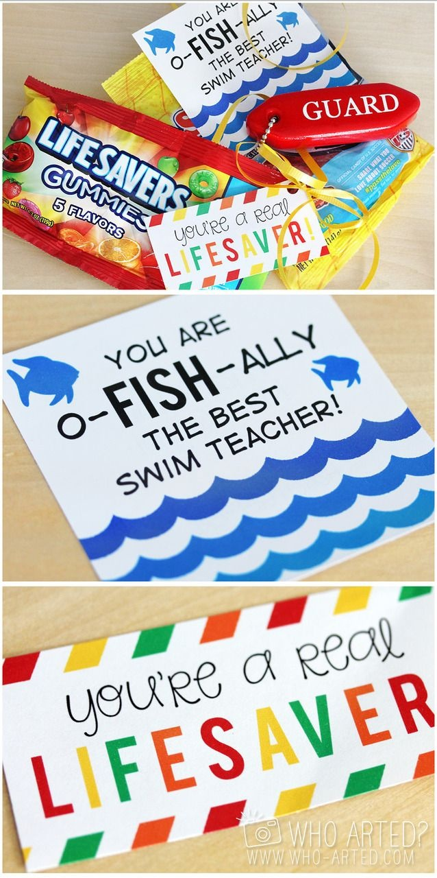 Printable Swim Instructor Gift Tags. Attach To Lifesavers And - Free Printable Lifesaver Tags