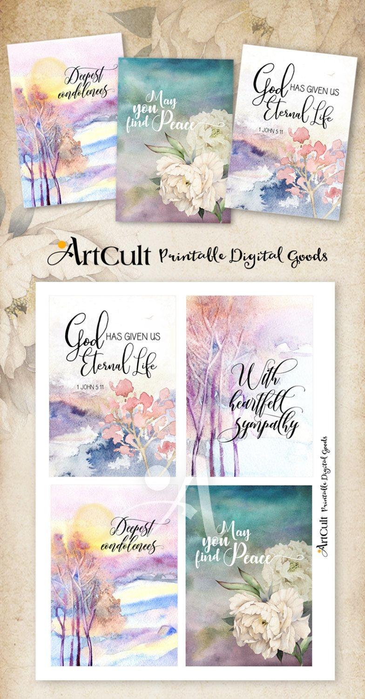 """Printable Sympathy Condolence Cards No.2 Digital Download 3.5""""x5 - Free Printable Sympathy Verses"""