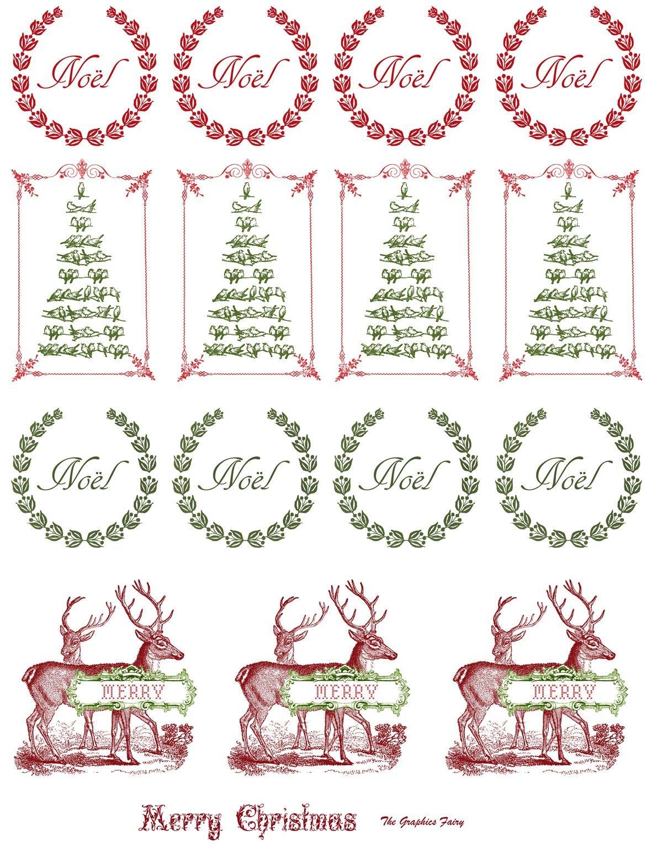 Printable - Vintage Christmas Stickers | Merkimiðar | Christmas - Free Printable Holiday Stickers