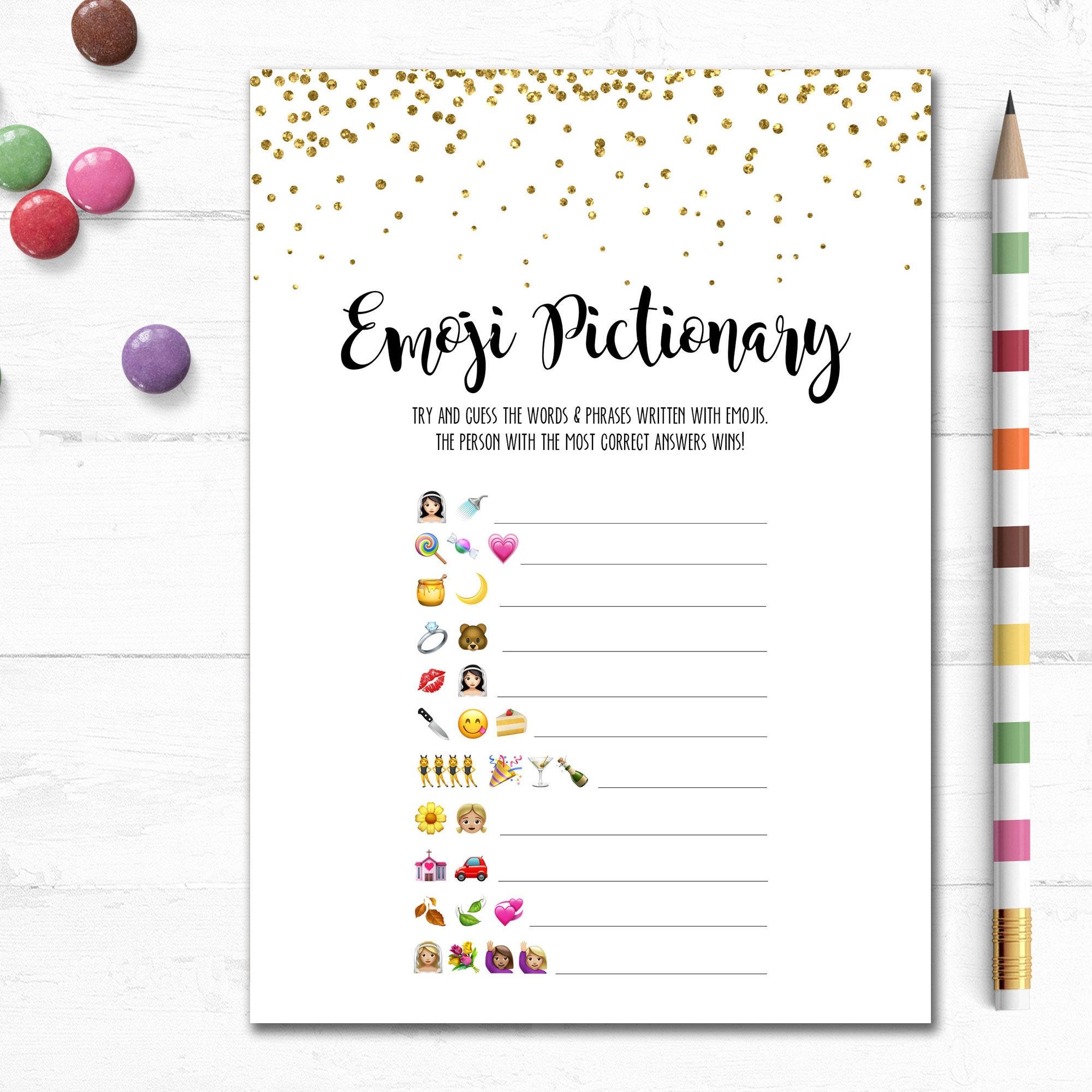 Printable Wedding Emoji Pictionary Bridal Shower Game Bridal   Etsy - Wedding Emoji Pictionary Free Printable
