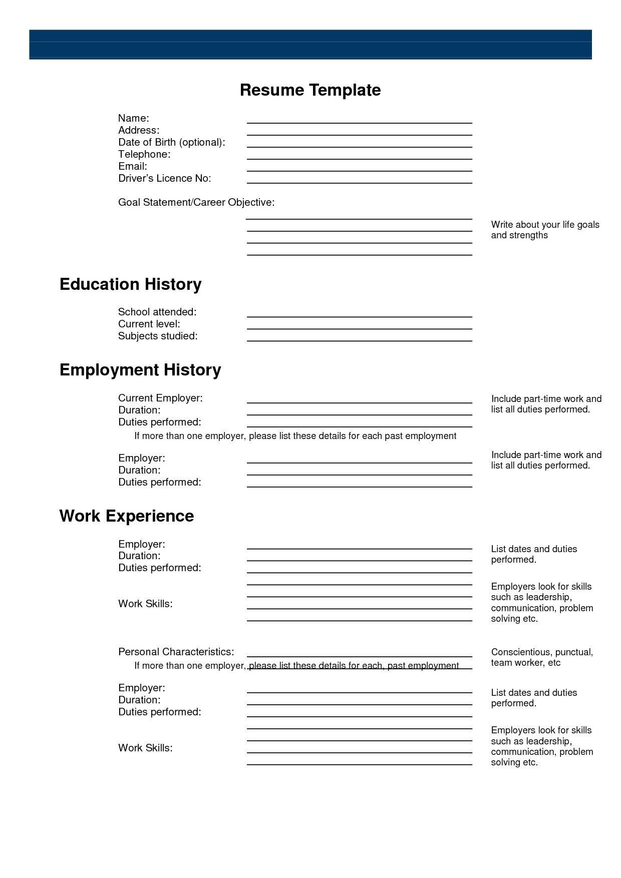 Printable | Work | Free Printable Resume, Free Printable Resume - Free Printable Resume Builder