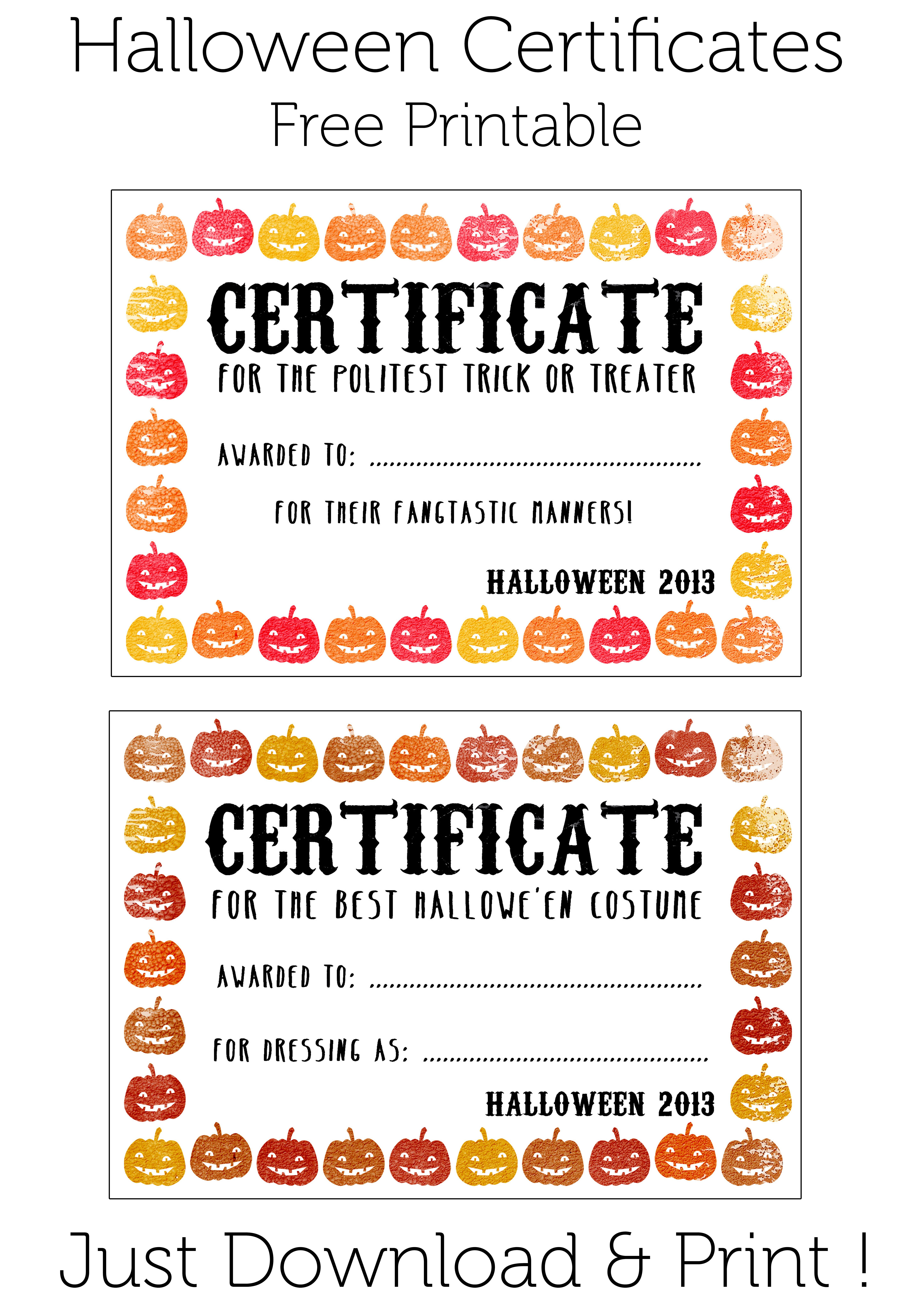 Prize For Winner Of Halloween Costume Contest   Baptism   Halloween - Free Printable Halloween Award Certificates